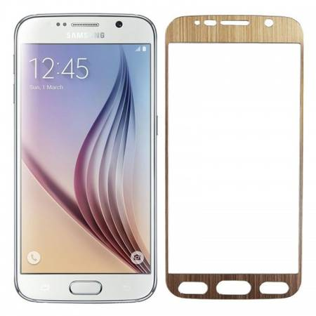 Folie protectie Tempered Glass din sticla pentru Samsung Galaxy S6 - aluminiu auriu