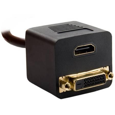 4World Adaptor  DVI-D [M]  la  HDMI [F] + DVI-D [F]   negru