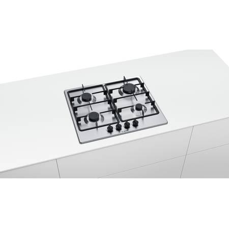 Plita Bosch PGP6B5B60 4 arzatoare gaz 60 cm Inox Argintie