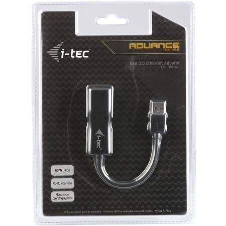 Itec adaptor USB 2.0  Fast Ethernet 10/100 Mbps black
