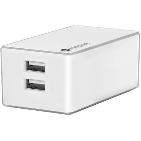 Acumulator extern Mophie Incarcator Priza Dual Priza + Auto 2.1A si Cablu Micro USB Integrat Alb