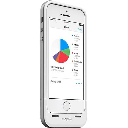 Acumulator extern Mophie iPhone 5s / 5 space pack - Husa cu acumulator 1700mAh si memorie 32GB - alb