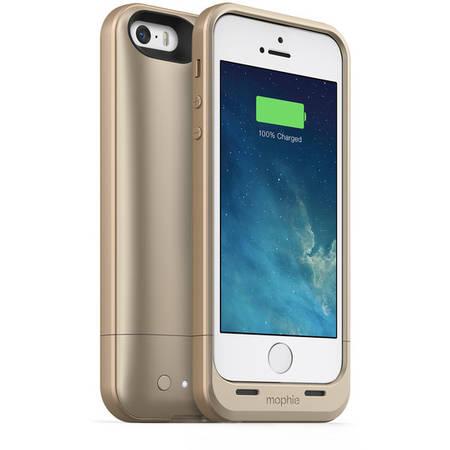 Acumulator extern Mophie iPhone 5s / 5 space pack - Husa cu acumulator 1700mAh si memorie 32GB - auriu