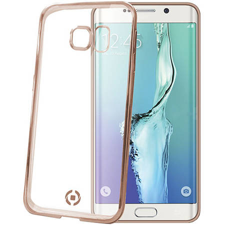 Bumper Celly BCLS6EGD Laser Cover Auriu pentru SAMSUNG Galaxy S6 Edge