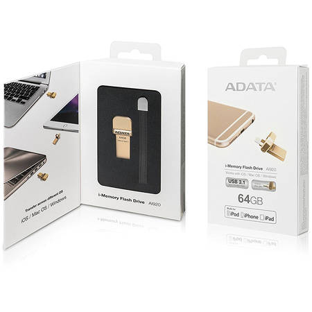 Memorie USB ADATA i-Memory Flash Drive AI920 64GB USB 3.1 Gold