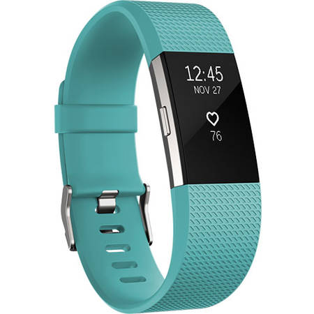 Bratara Fitness Fitbit Charge 2 S Teal Silver Blue