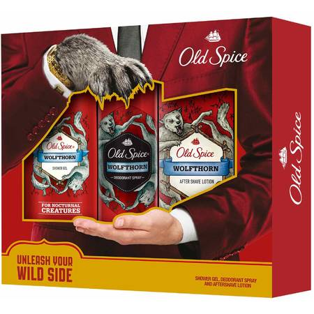 Old Spice deo spray Wolfthorn 125ml+Shower gel 250ml+After Shave lotion 100ml