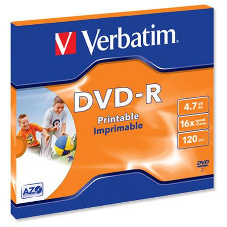 Mediu optic Verbatim 43521 DVD-R AZO 16X 4.7GB Suprafata Printabila