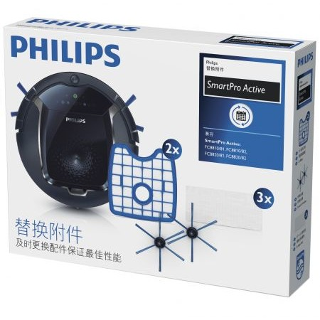 FC8068/01 Kit de schimb 2 filtre 1 perie 3 lavete uscate pentru mop Albastru/Alb thumbnail