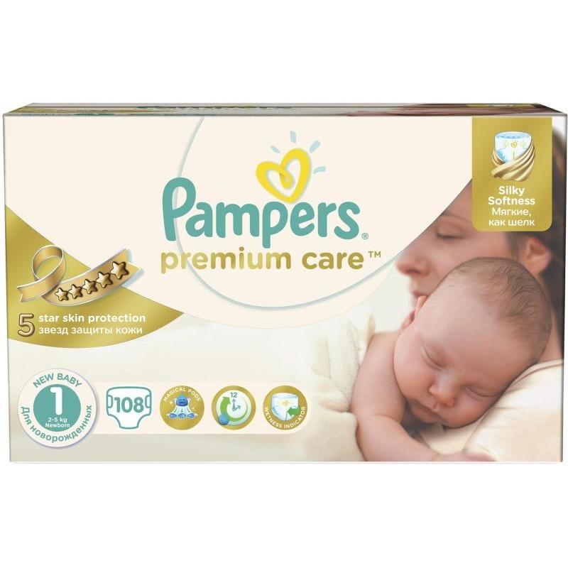 Scutece Premium Care 1 New Baby Jumbo Pack 108 buc thumbnail