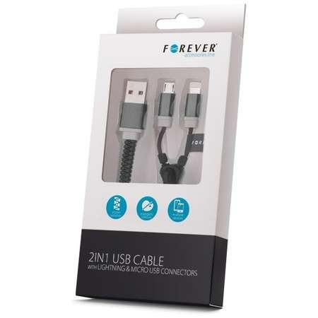 Cablu de date Forever Zipper 2 in 1 conector microUSB plus Lightning negru