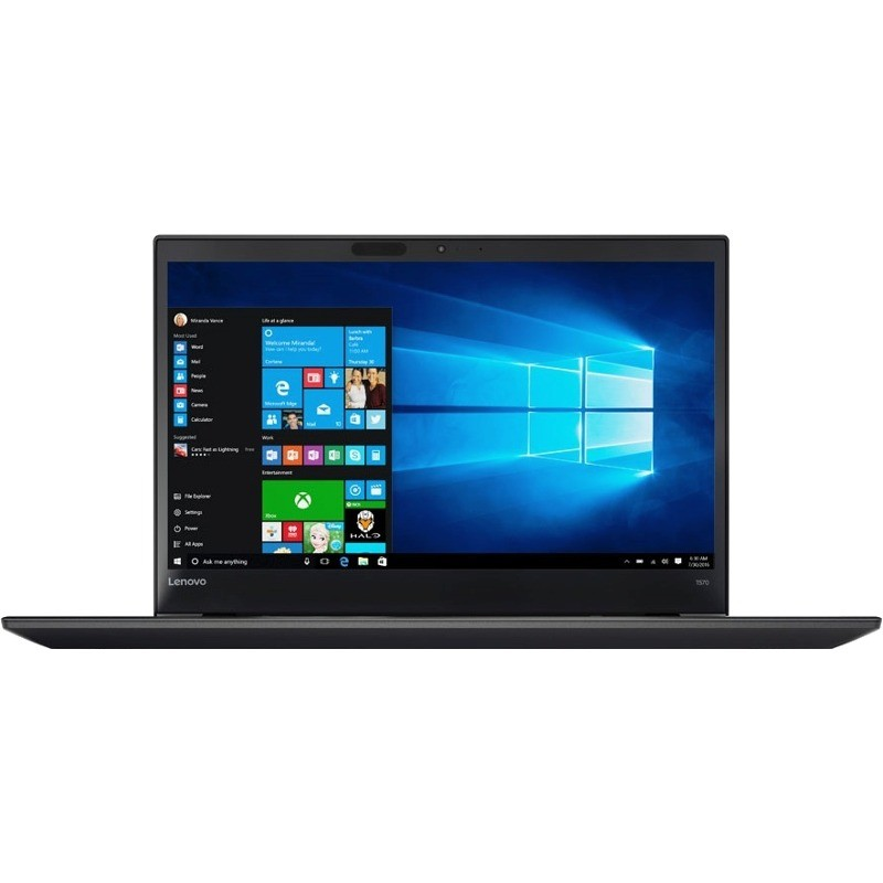 Laptop ThinkPad T570 15.6 inch Full HD Intel Core i5-7200U 8GB DDR4 256GB SSD FPR Windows 10 Pro Black thumbnail