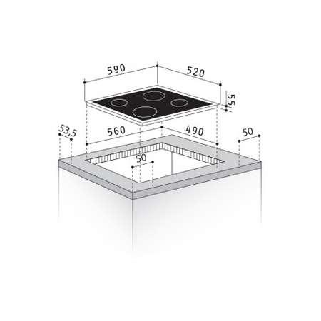 Plita electrica incorporabila Inductie Pyramis Ecoline HO8140 Touch 4 Zone gatit Timer Sticla Neagra