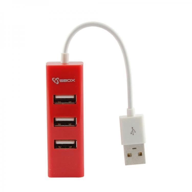 Hub USB H-204R 3 porturi USB 2.0 Rosu thumbnail