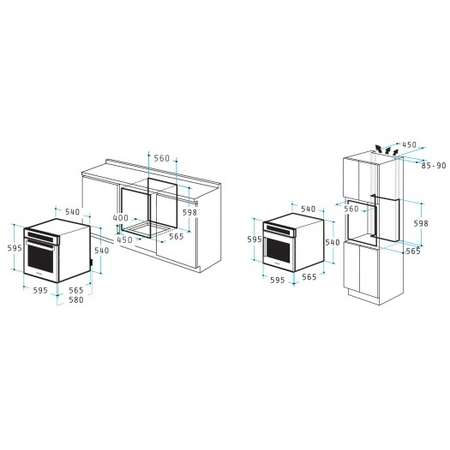 Pachet Pyramis ECO COMFORT STYLE Cuptor electric incorporabil 5 functii Clasa A 61 L Timer Plita gaz Hota Inox si Sticla