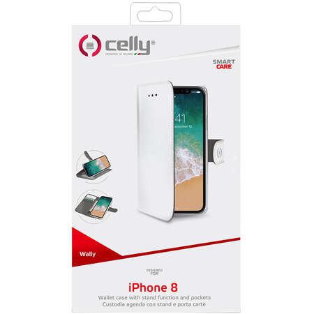 Husa Flip Cover Celly WALLY900WH Agenda Alb pentru APPLE iPhone X