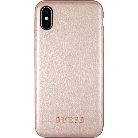 Husa Protectie Spate Guess GUHCPXIGLRG Iridescent Piele Roz Auriu pentru APPLE iPhone X