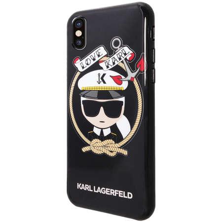 Husa Protectie Spate Karl Lagerfeld KLHCPXKSB Love Karl Negru pentru APPLE iPhone X