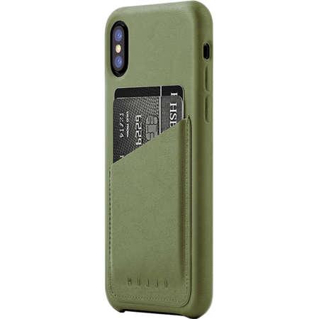 Husa Protectie Spate MUJJO-CS-092-OL Piele Wallet Verde pentru APPLE iPhone X