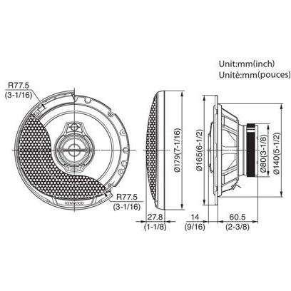 Boxe Auto Kenwood KFC-PS1795 80W RMS 17 cm