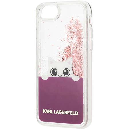 Husa Protectie Spate Karl Lagerfeld KLHCP7PABGFU Peek A Boo Roz pentru Apple iPhone 7, iPhone 8