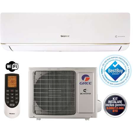 Aparat aer conditionat Gree BORA GWH09AAB-K3DNA5A 9000BTU A++/A+ Wi-Fi Incorporat Inverter Alb + Kit Instalare Inclus