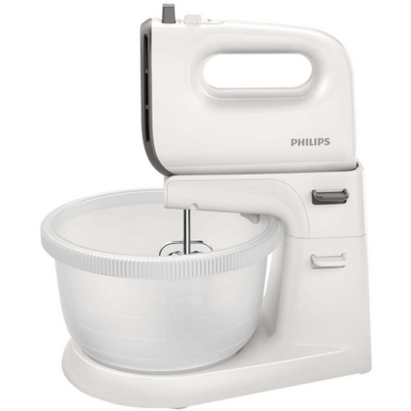 Mixer cu bol Philips HR3745/00 Viva Collection 450W 3 litri 5 viteze plus Turbo Alb / Gri