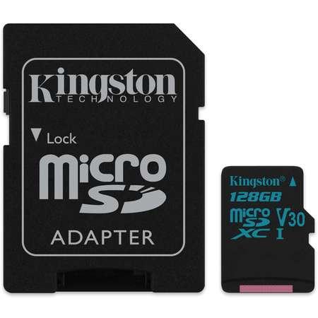 Card Kingston 128GB microSDXC Canvas Go 90R/45W U3 UHS-I V30 Card cu adaptor SD