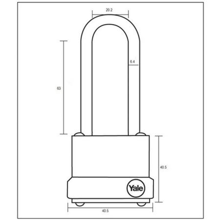 Lacat lamelar cu veriga lunga Yale Y125/40/163/1 40 mm