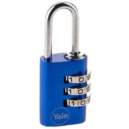 Lacat aluminiu cu cifru Yale YE3C/28/126/1/BL 28 mm Albastru