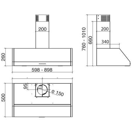 Hota design Baraldi Bankia 01BAN090IST70 90 cm 700 m3/h Inox