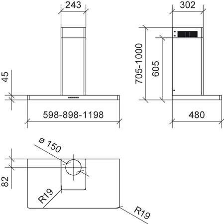 Hota design Baraldi Dea 01DEA90ST70LED 90 cm 700 m3/h Inox