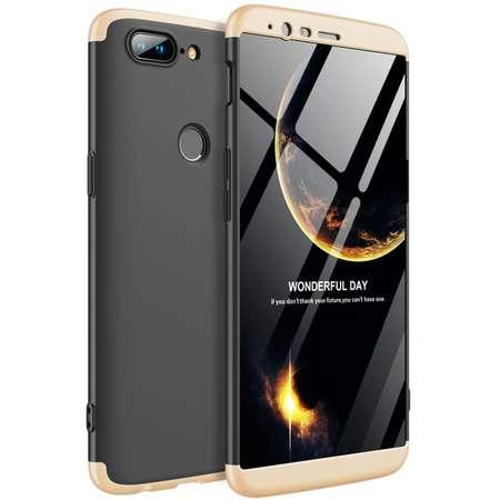 Husa Protectie Spate GKK 360 Negru / Auriu pentru OnePlus 5T
