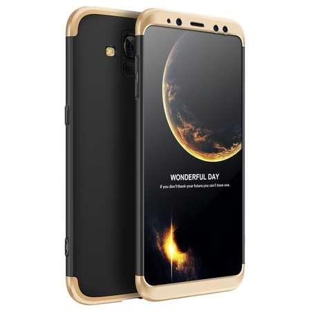 Husa Protectie Spate GKK 360 Negru / Auriu pentru Samsung Galaxy A8