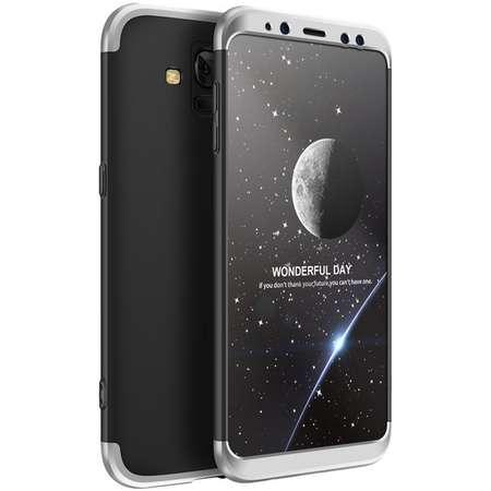 Husa Protectie Spate GKK 360 Negru / Argintiu pentru Samsung Galaxy A8