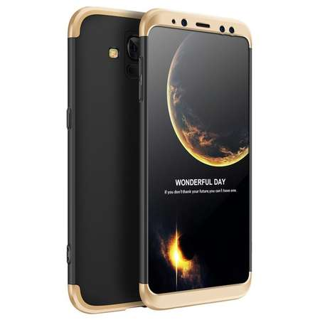 Husa Protectie Spate GKK 360 Negru / Auriu pentru Samsung Galaxy A8 Plus