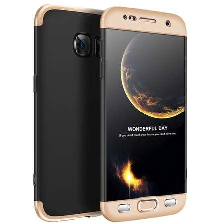 Husa Protectie Spate GKK 360 Negru / Auriu pentru Samsung Galaxy S7