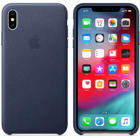 Husa Protectie Spate Apple iPhone XS Max Leather Case Midnight Blue