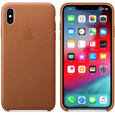 Husa Protectie Spate Apple iPhone XS Max Leather Case Saddle Brown