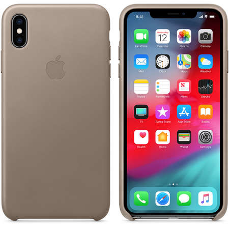 Husa Protectie Spate Apple iPhone XS Max Leather Case Taupe