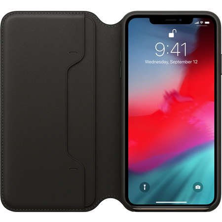 Husa Flip Cover Apple iPhone XS Max Leather Folio Black