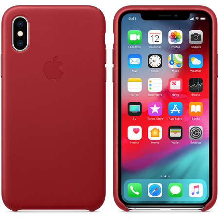 Husa Protectie Spate Apple iPhone XS Leather Case Red
