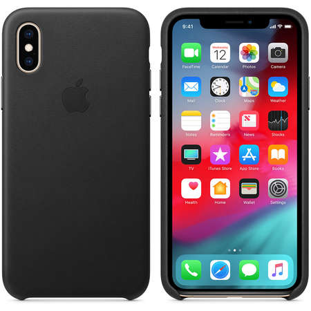 Husa Protectie Spate Apple iPhone XS Leather Case Black