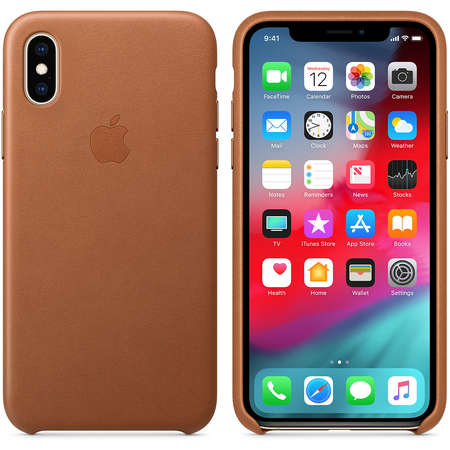 Husa Protectie Spate Apple iPhone XS Leather Case Saddle Brown