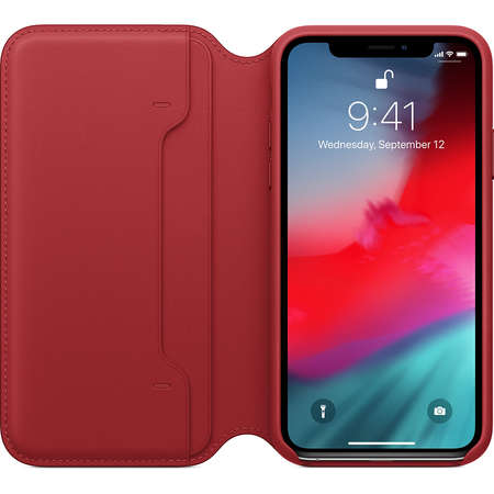 Husa Flip Cover Apple iPhone XS Leather Folio Red