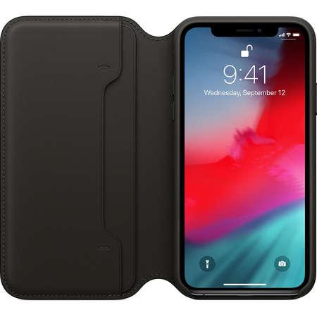 Husa Flip Cover Apple iPhone XS Leather Folio Black