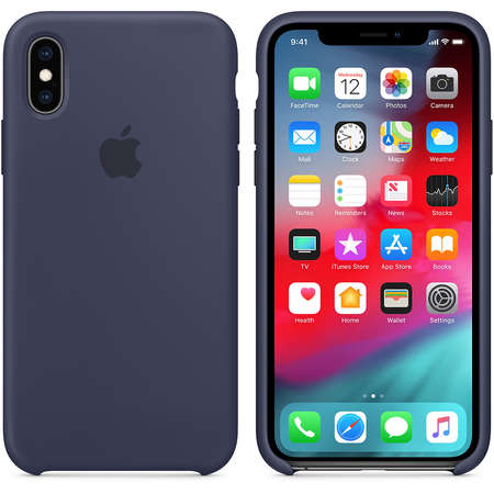 Husa Protectie Spate Apple iPhone XS Silicone Case Midnight Blue