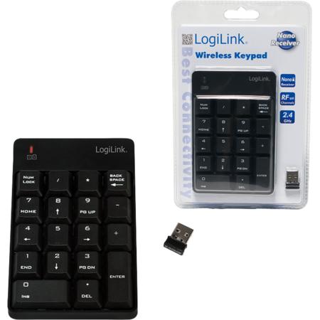 Tastatura wireless numerica Logilink 18 chei Negru