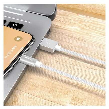 Cablu de date Benks D21 Lightning magnetic 1.2 m Argintiu