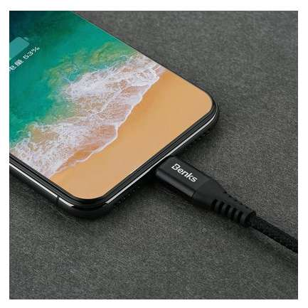 Cablu de date Benks D26 Chidian Lightning 0.25m Negru